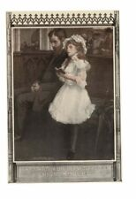VINTAGE 1910 BEAUTIFUL LITTLE GIRL SINGING PARADISE NEXT TO HER FATHER AD PRINT