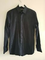 Men's Jeff Banks Black Silver Stripe Shirt Small <EE938T