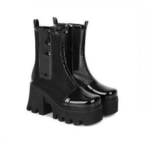 New Women Punk Block High Heel Closed Toe Platform Zipper Ankle Boots 42 43 44 L
