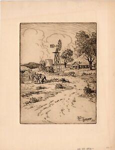 Fred Harman original etching, Farmstead, Calapai printing, 1969
