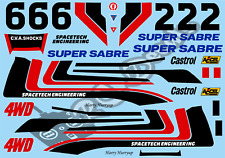 Vintage Super Sabre Decals / Stickers choice of colour -Tamiya