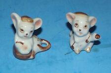 "2 Mini Ceramic Mice Vintage Miniature 1""x1 Animal Mouse Figures Flower Handcraft"