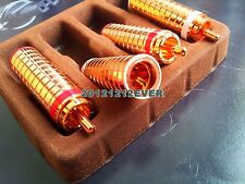 4Pc Cast Copper Red Copper Plated RCA Connector Plug Audiophile