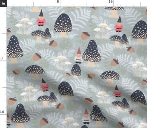 Forest Gnomes Woodland Mushroom Acorn Magical Spoonflower Fabric by the Yard