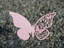 100x farfalle Segnaposto Segnabicchiere PINK PERLATO bomboniera matrimonio LASER
