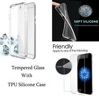 Ultra Thin Transparent Silicone Gel Case Cover With Screen Protector For iPhone