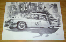 Ghostbusters Ecto-1 original art - art commissioned by 88MPH