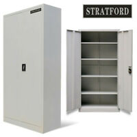 Stratford 195cm Tall Light Grey 2 Door Metal Storage Filing Cupboard Cabinet