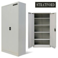 Stratford 195cm Tall Light Grey 2 Door Metal Storage Filing Cupboard Cabinet