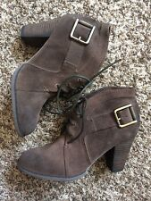 Luxury Rebel Brown Taupe Suede Lace Up Buckle Heel Booties 8M Fleur