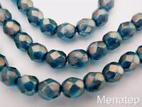 Transparent Blue 25 8 mm Czech Glass Diagonal Hole Cube Beads Luster