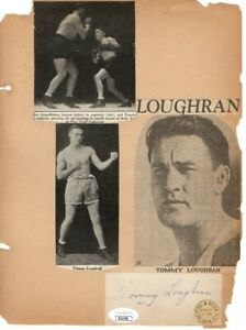 Tommy Loughran Signed Autograph Vintage Scrapbook Page Boxing Legend JSA II22750