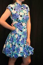 S Blue Green Hawaiian Floral Vtg 80s Bubble Drop Waist Mini Dress All That Jazz