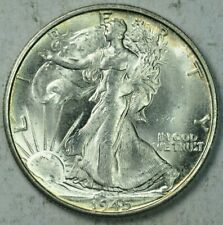 1945-S 50C Walking Liberty Half Dollar Mint State Uncirculated MS UNC Luster!