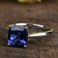 1.25Ct Cushion Cut Blue Sapphire Solitaire Engagement Ring 14K White Gold Finish