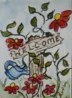 Original ACEO or ATC watercolor miniature painting - Welcome sign with flowers