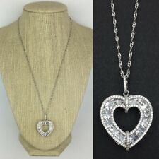 """NWT Sterling Silver 925 Cubic Zirconia Heart Necklace Pendant with 18"""" Chain"""