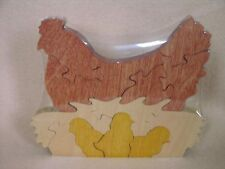 Chicken Hen with Chick in Nest Set Hand Cut Wooden Toy Puzzle NEW USA
