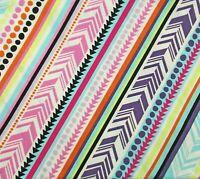 Cream Pink Purple Orange Yellow Diagonal Stripe Cotton Quilting Fabric BTY