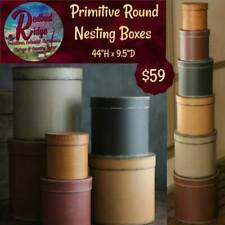 "Colonial Vintage Folk Art Primitive Colors Nesting Stacking Boxes 44""H 6/Set"