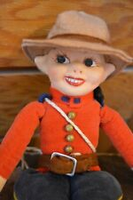 """Vintage 10"""" Norah Wellings Canadian Mountie Cloth Doll Made in England"""