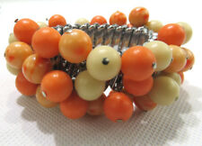 Vintage Costume Jewelry Stretch Bracelet Round Beads Coral Color Made In Japan