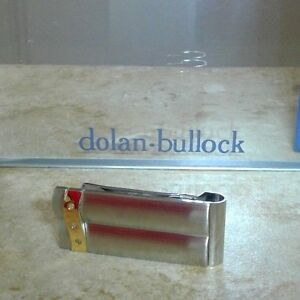 DOLAN BULLOCK  money clip madrid ss &18k gold w/diamond  great gift NMC010800