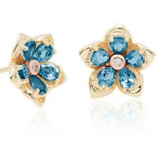 NEW  9ct gold Clogau Forget me Not Topaz set earrings FMNE £720