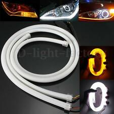 2x 85CM LED Drl Ruban Flexible Phare Headlight Diurne Tube Feux Jour Blanc Ambre