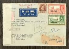 BAHRAIN 1944 REGISTERED AIRMAIL DUEL CENSOR TO INDIA RARE