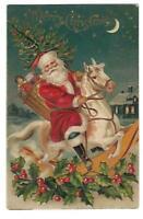 Christmas~Patriotic Santa Claus on Rocking Horse~Toys~USA Flag~ Postcard--a419
