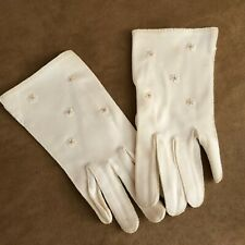 Vintage star detail Gloves dress womens off white ivory formal driving