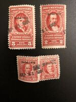 1953 US Documentary Internal Revenue Stamps $5 $2 10c 5c - R642 R636 R624 R626
