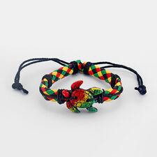 1 X Rasta Braided PU Leather & Sea Turtle Charm Surfer Wristband Bracelet Bangle