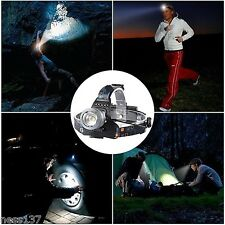 Lampe Frontale Rechargeable 2-CREE XM L T6 Lumière Blanche Puissante Zoom