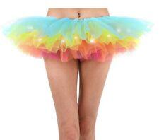 Women's LED Light Up Neon Tulle Tutu Skirt 5 Layered Party Dance Skirt
