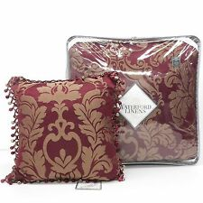WATERFORD Athena KING COMFORTER SET 5pc PILLOW NWT Floral Medallion RUBY RED