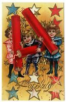 Patriotic~July 4th~Postcard Children with Firecrackers~Stars~Fourth of July~p919