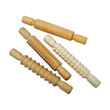 Kids Children Craft Baking Patterned Wooden Rolling Pins Set Clay Playdough