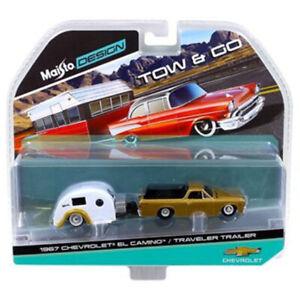 Maisto 1:64 TOW & GO 1967 Chevrolet El Camino with Traveler Trailer Gold 15368D