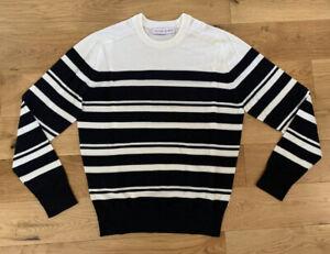 Orlebar Brown Jumper Lucas Breton Striped Merino/Cotton Cream & Black Medium New
