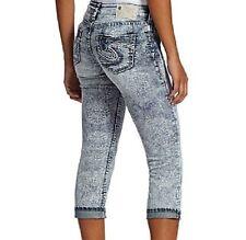 $82 Nwt Silver Jeans Co. Printed Aiko Stretch Denim Cropped Capri Jeans Size 29