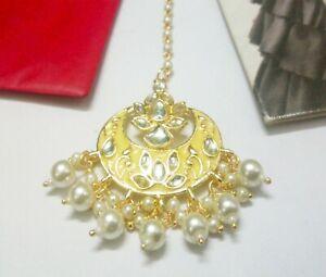 Indian Yellow Kundan Maang Tikka Gold Plated Pearls Head Piece Bridal Jewelry