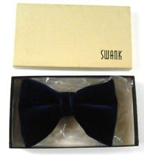 Blue Velvet Snap On BOW TIE Vintage 3.75 in WIDE SNAPPER Clip On Swank
