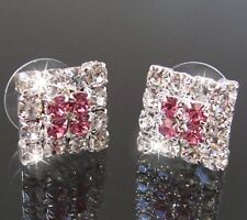 Earrings Ear Stud 1,2cm Square Rhinestone Pink Clear Jewelry Gift Party o2106