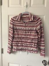Uniqlo Women's S Pink/white/grey Fluffy Fleece Zip Jacket Warm Winter
