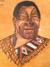 Vintage New Zealand Photo Album Tribal Image Maori ? Folk Art Suede