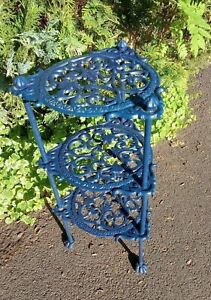 "Vintage ""Librasco"" - Cast Iron 3 Tier Pot / Pan / Plant  Stand - BLUE 60 cm Tall"