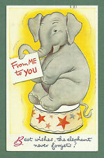 "LOVELY 1947 ""BEST WISHES"" PC ELEPHANT SITTING ON STOOL - ARTIST DRAWN"