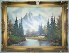 Oil Canvas June 30, 1966 by WAGSEH in Ramstein, Germany CHALET Mountain  32 x 24